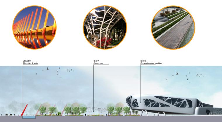 [湖北]武汉园博会景观规划设计方案文本-[湖北]武汉园博会景观规划设计文本 C-2 剖面及意向