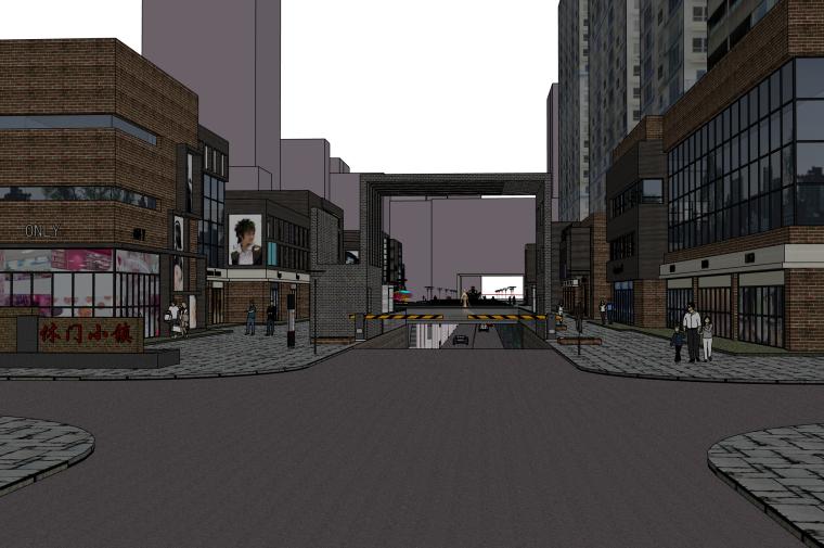 现代商业街改造建筑SU模型