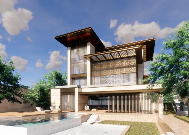 新亚洲风格独栋别墅建筑模型设计(2018年)