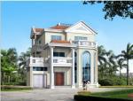 3层独栋别墅天蓝色波型瓦建筑设计(cad+效果图)