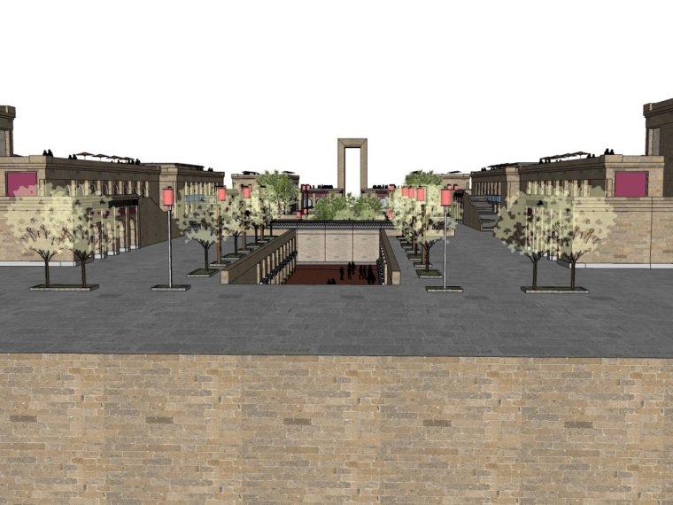 现代商业街两层资料下载-商业街区,现代主义风格,2层\商业街区.skp