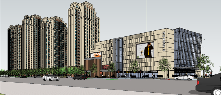 欧式高层+商业SU建筑模型