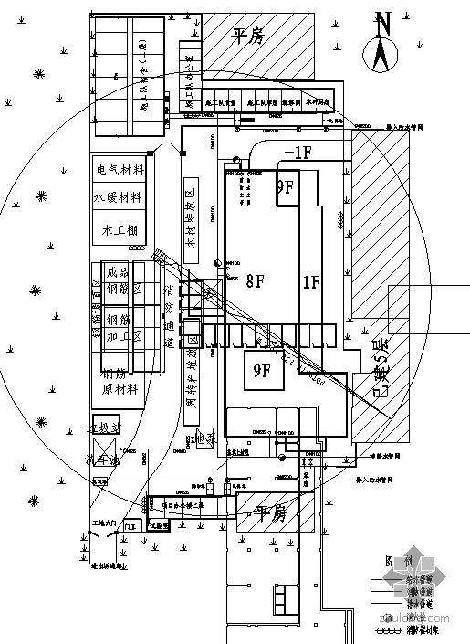 某办公楼施工现场临时用水用电平面图