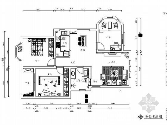 [上海]简约欧式田园风格平层室内施工图