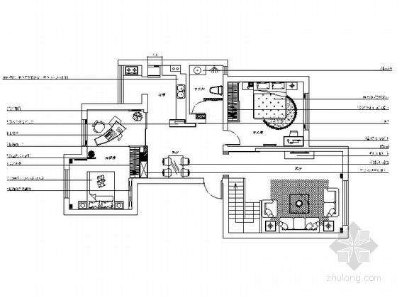 名师设计田园风情复式样板间装修施工图(含效果)