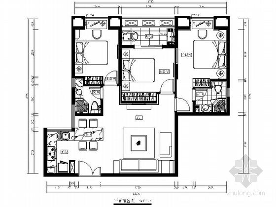 [福州]特色城市住宅区现代简约三居室样板房装修图(含效果)