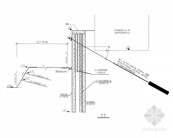 [山东]深基坑双排桩加扩大头锚索支护施工图