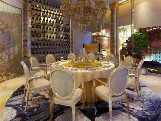 欧式豪华别墅餐厅3d模型下载