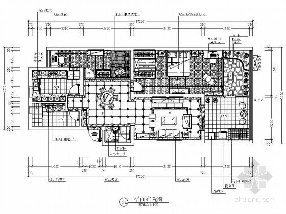 [上海]新中式风格两居室装修CAD施工图(含效果图)