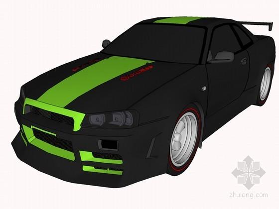 黑色轿车SketchUp模型下载