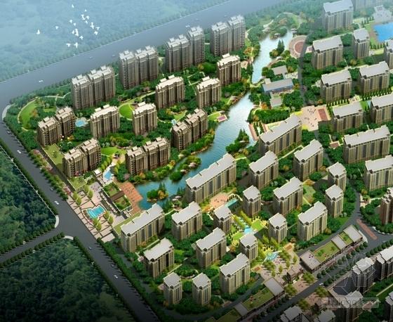 新中式高层住宅小区规划效果图