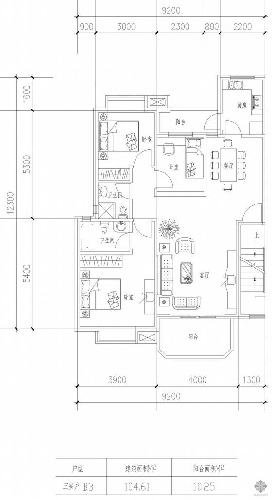 板式高层三室一厅单户户型图(104.6)