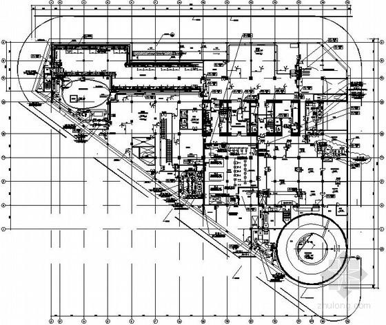 [上海]大型综合商业办公楼暖通空调全套施工图-地下层通风平面图