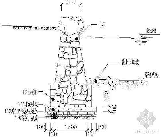 砌石驳岸剖面图