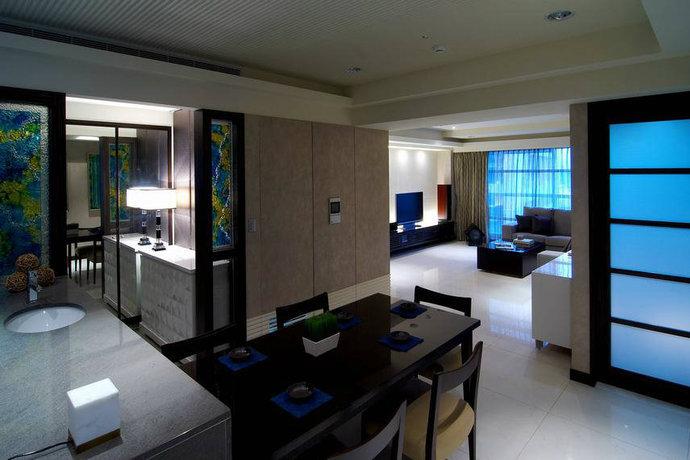 130平米二居室现代简约客厅背景墙设计效果图_4