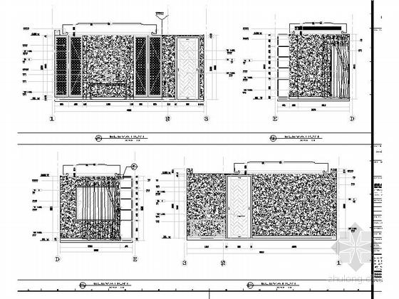 [浙江]现代风格三层别墅室内装修施工图书房立面图
