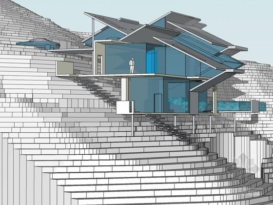 坡地别墅SketchUp模型下载