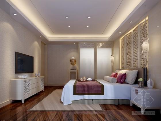新中式时尚卧室3D模型下载