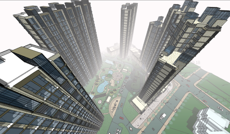 高层商业+住宅区景观设计SU模型