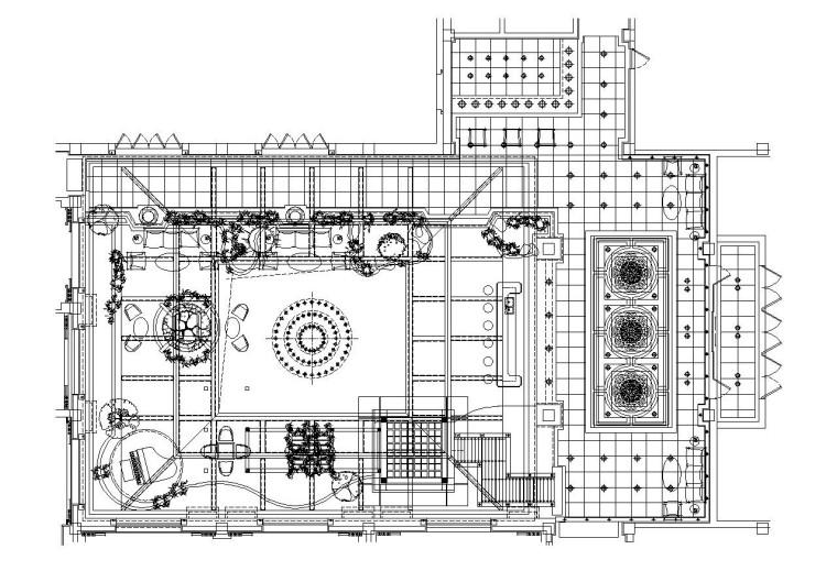 某大型会所内部装修施工图设计(附效果图)