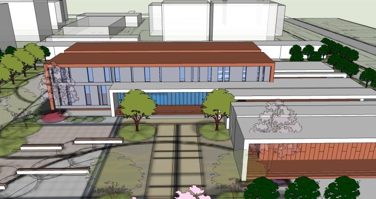 现代风格中学建筑SU精模型_2