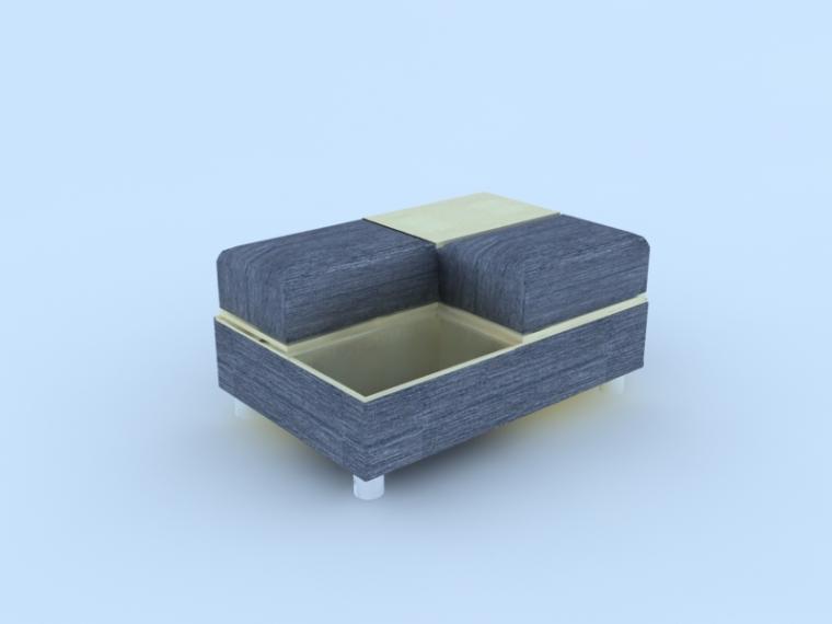 公共沙发3D模型下载_1
