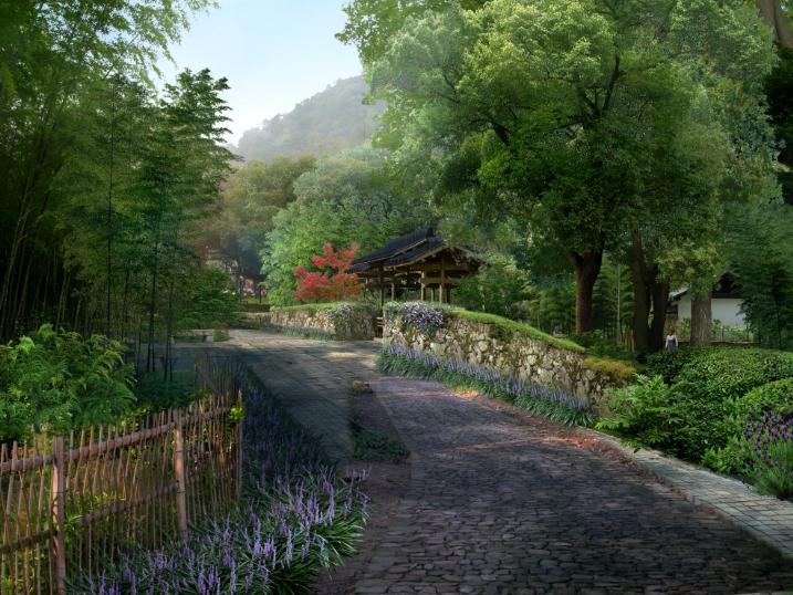 美丽乡村景观效果图PSD分层素材(12)