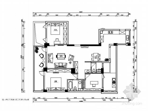 精品文艺时尚现代风格三居室室内装修施工图(含实景图)