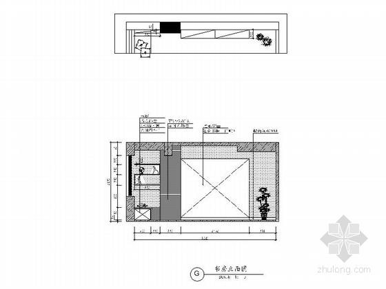 [广州]花园住宅简欧三居室样板房装修图(含效果)书房立面图