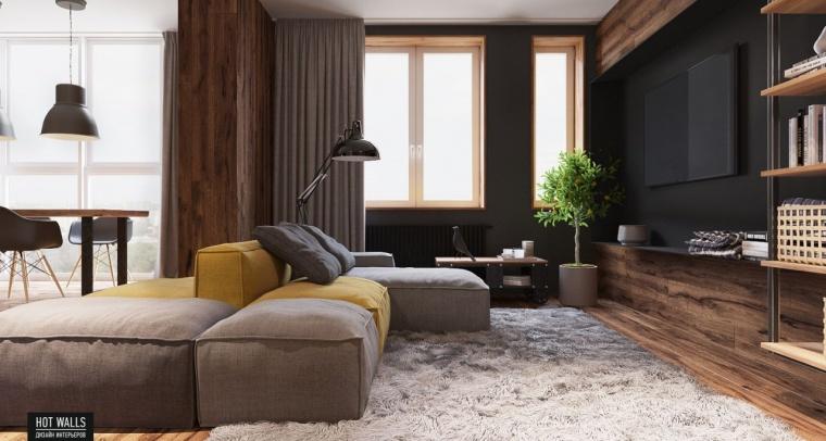 俄罗斯:木质与黑色调营造温暖酷炫的居家氛围_4