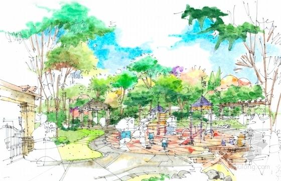 某别墅手绘景观规划设计方案-别墅手绘景观效果图