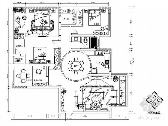 [湖南]清新现代简约风格四居室室内装修施工图(含效果)