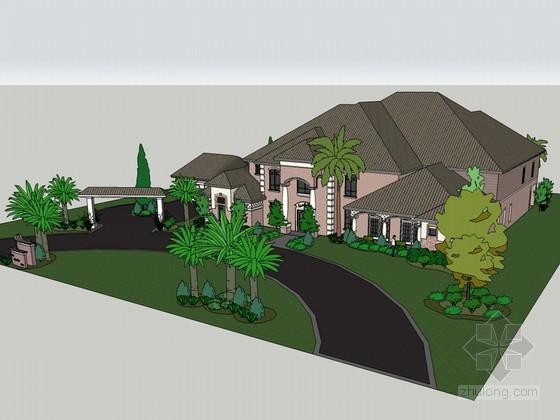 地中海风格别墅SketchUp模型下载