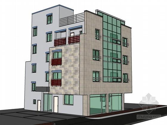 公寓式建筑SketchUp模型下载