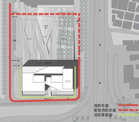 [深圳]裂口磐石造型高层科技大厦建筑设计方案文本-裂口磐石造型高层科技大厦建筑分析图