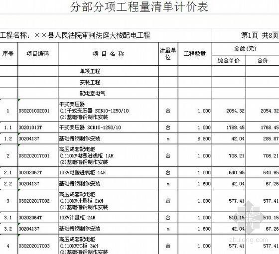 [福建]2013年法院办公大楼配电工程量清单预算(编制说明+定额项目)