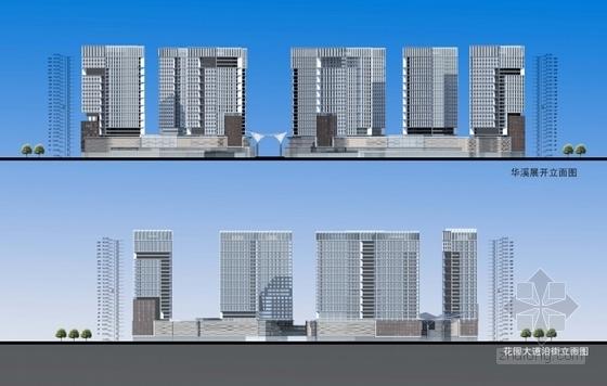 [浙江]现代风格电子商务信息港规划设计方案文本-现代风格电子商务信息港规划立面图