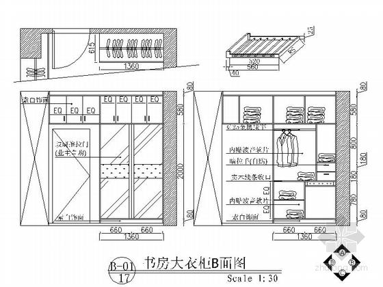 黑白经典三居室装修施工图(含效果图) 立面图