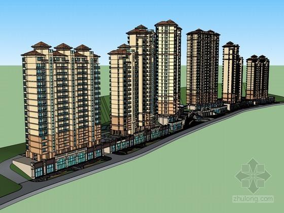 临街住宅建筑SketchUp模型下载-临街住宅建筑