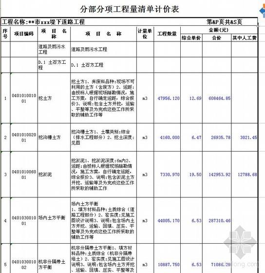 安徽某市政道路工程清单投标实例(2010年5月)