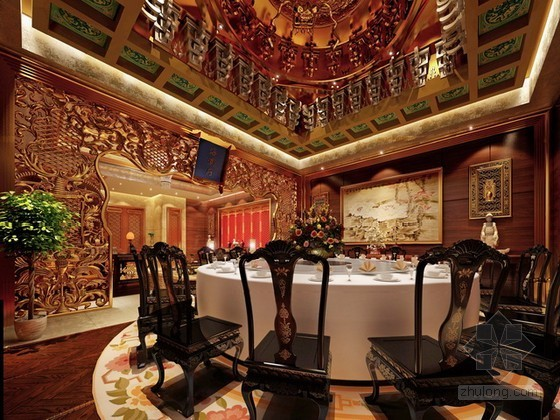 豪华中式风格餐厅包厢3d模型下载