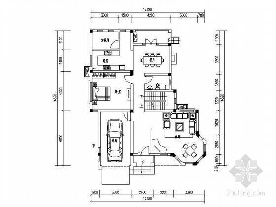 某二层独栋别墅户型平面图(278)