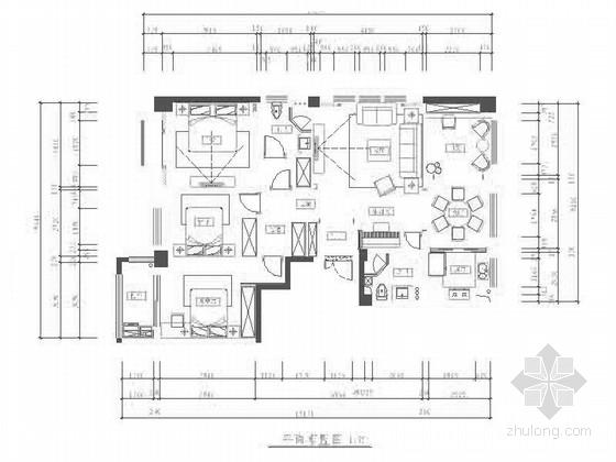 精品雅致高级简欧风格四居室样板间室内装修设计施工图(含效果和软装配饰)