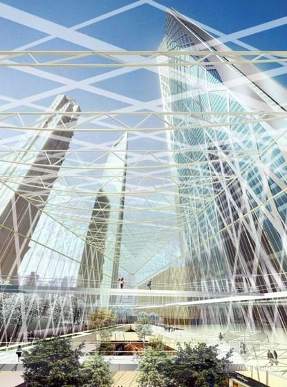 超高层玻璃幕墙办公塔楼建筑效果图