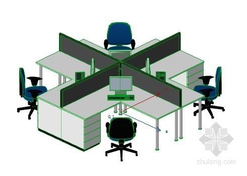 办公室布局-岛型 ArchiCAD模型