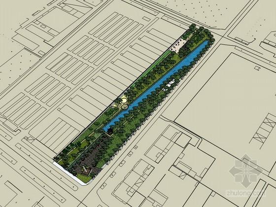 某公园绿地景观sketchup模型下载