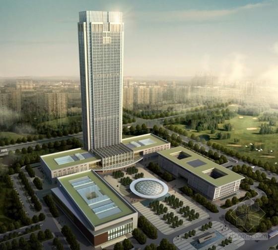 [江苏]某53层企业办公楼建筑方案文本(218米、2份方案)
