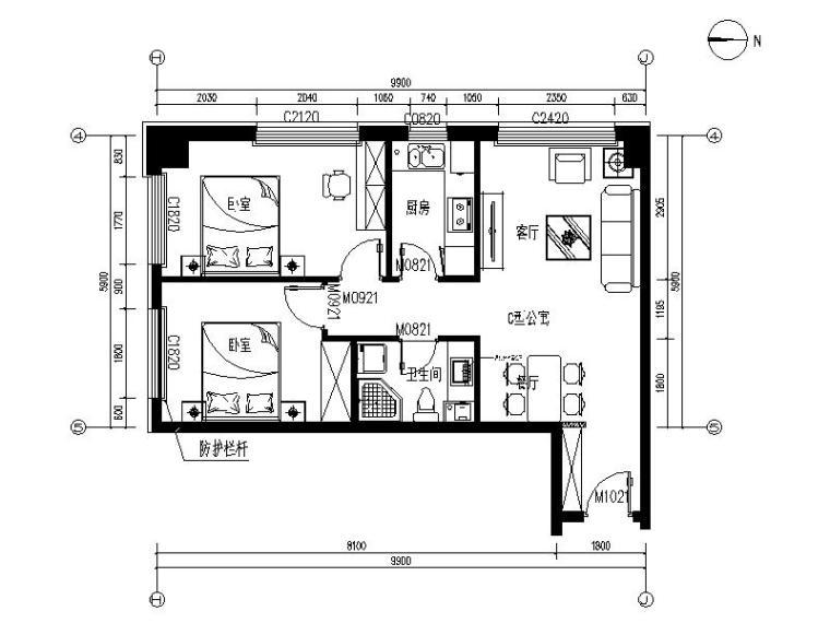 [北京]现代简约温馨住宅室内设计施工图