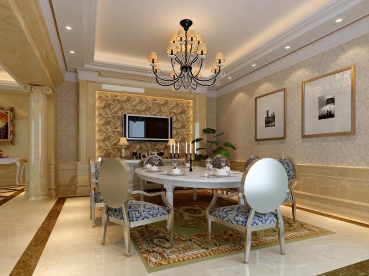 现代欧式餐厅3D模型下载