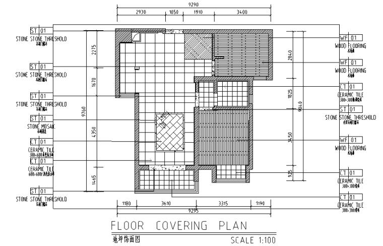 混搭风格二居室样板房设计施工图(附效果图)